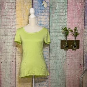 Tahari Crew Neck Lime Neon Green Short Sleeve Tee